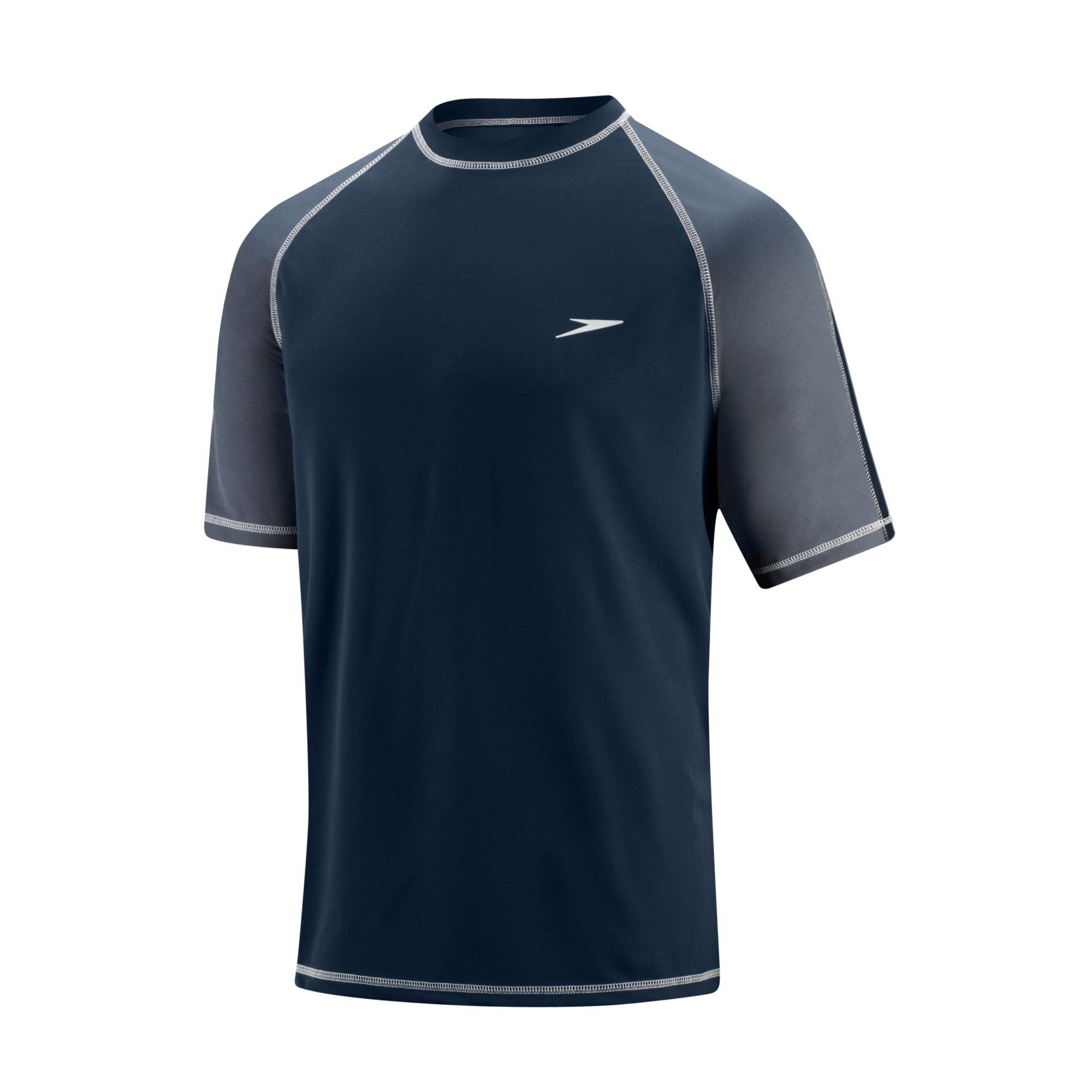 Speedo keepin 39 on short sleeve swim shirt swimsuit ebay for Men s uv swim shirt short sleeve