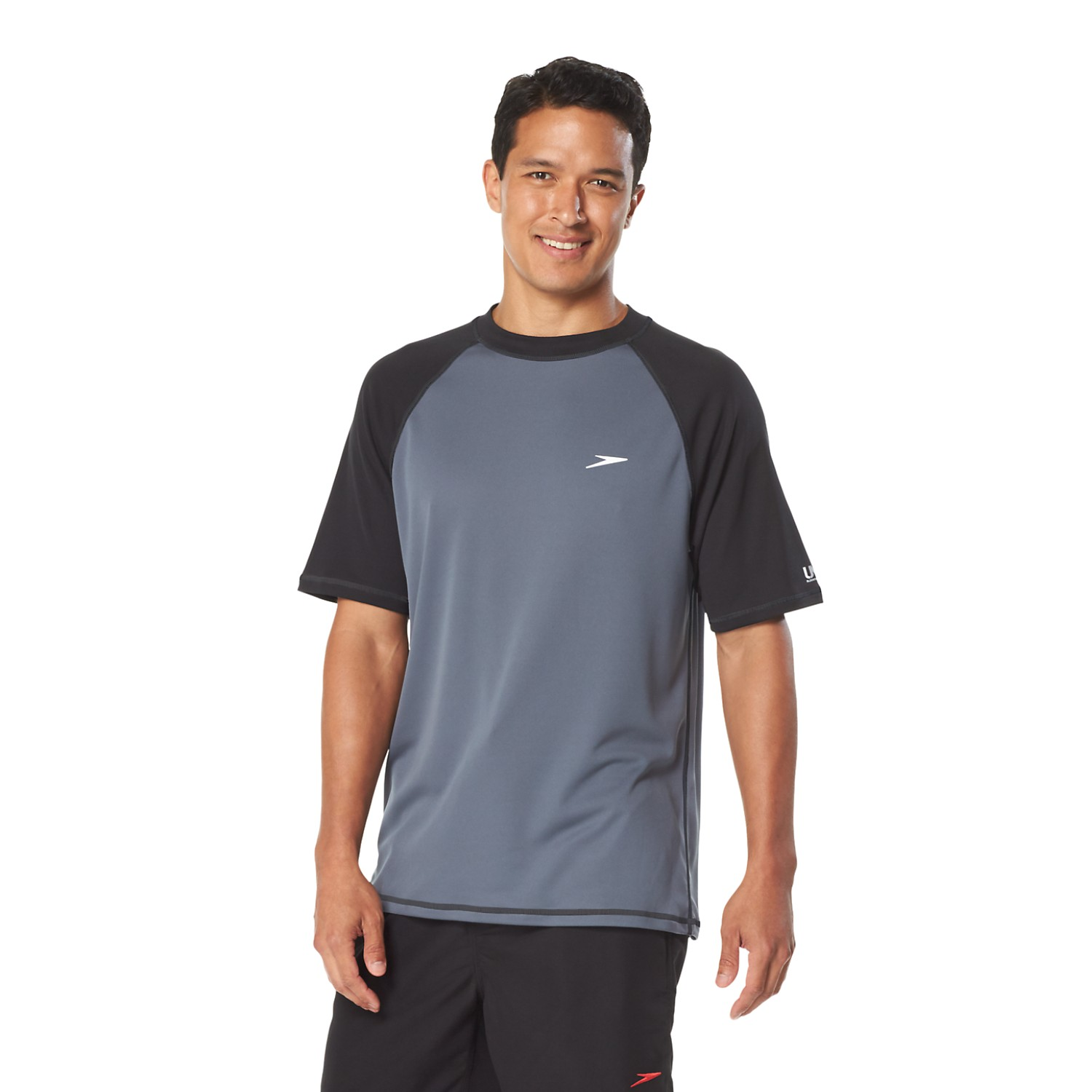 Mens Easy Short Sleeve Swim Shirt (Black/Grey)