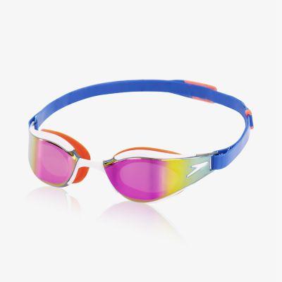 Speedo Rift Senior Adult Goggles Swimming Swim White Blue Lense Grey CL