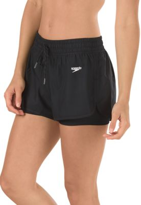 Speedo USA  Unisex Women's Hydro Volley Fitness : Black: 3'' inseamVersatile water shortBuilt-in compression shortSporty details include a flattering drawcord waist and curved side seams.Shell: 100% Polyester/Internal short: 53% Polyester/47% PBT