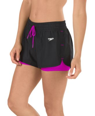 Speedo USA  Unisex Women's Hydro Volley Swim Bottoms : Very Fuchsia: Move from the gym to the pool in this versatile volley. Designed with a built-in compression short for a secure and worry-free fit  this two-tone style has an easy drawstring waist and curved hem for flattering comfort.