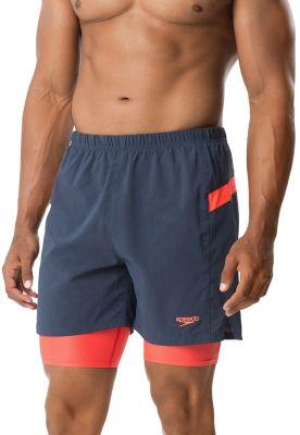 Medium Speedo Mens Hydrosprinter with Compression Swimsuit Shorts Workout /& Swim Trunks Black