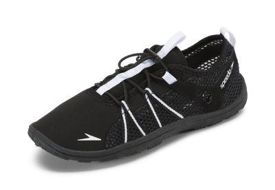 Speedo USA  Unisex Women's Seaside Lace  : Black/White: Stay grounded during water activities. This water shoe has a sneaker-inspired design that promotes breathability and features an easy lacing system that ensures a secure fit.