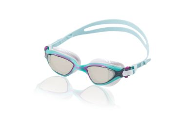 Speedo USA  Unisex Women's MDR 2.4 Mirrored  - Elastomeric  : Turquoise: Keep your focus on the race ahead with the mirrored MDR 2.4 goggle  designed specifically for the contours of a woman's face. Advanced technologies and an innovative fit system combine to deliver ultimate comfort and performance  resulting in minimal ring marks and unrestricted underwater views.