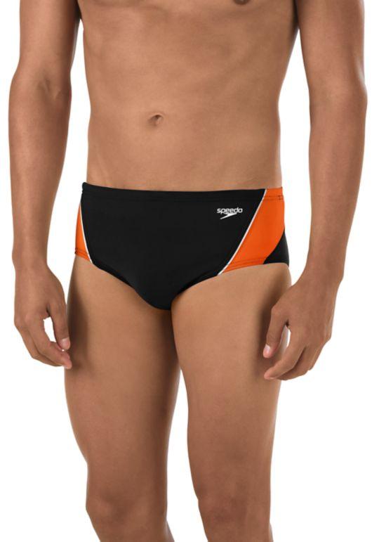 Black Red with White Stripe Drawstring Trunk Brief Speedo Swimwear