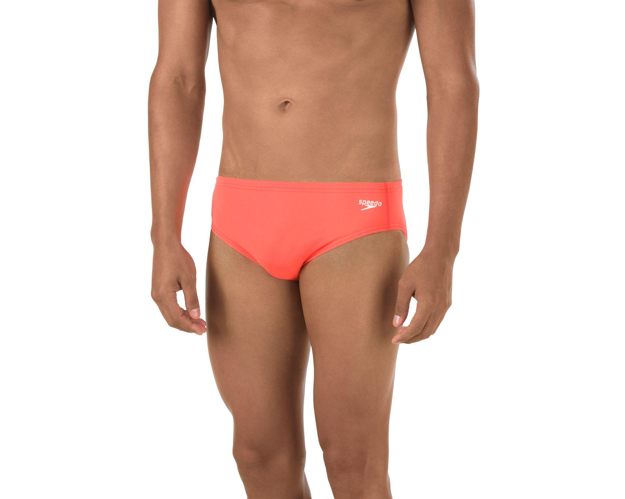 Red with White Drawstring Trunk Brief Speedo Swimwear